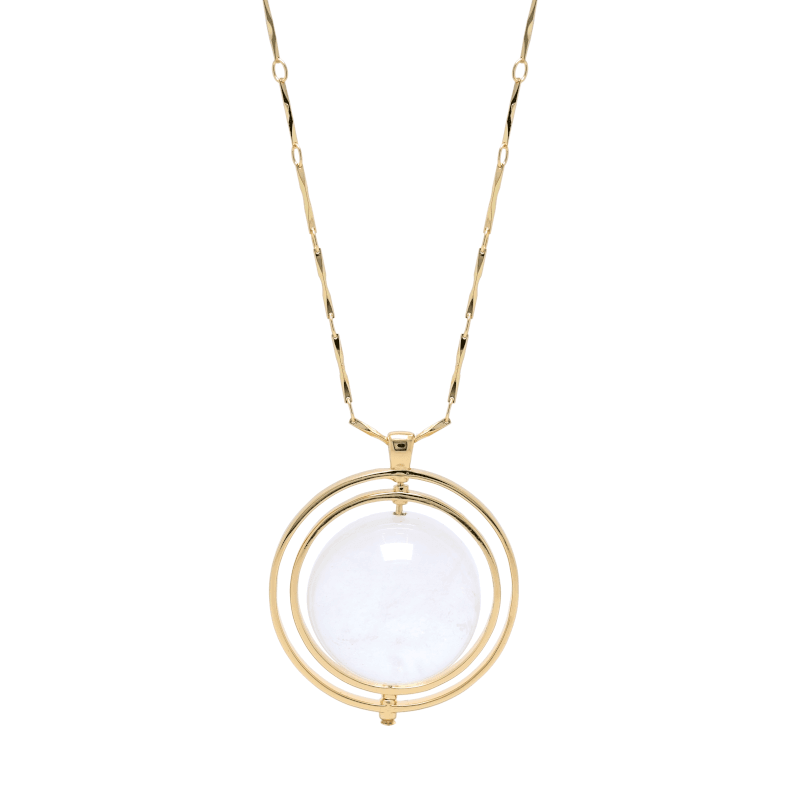 THE ORBITAL NECKLACE GOLD WITH LIGHT STONE - C.J.ROCKER