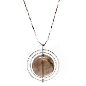 THE ORBITAL NECKLACE SILVER WITH DARK STONE - C.J.ROCKER