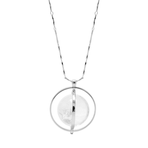 THE ORBITAL NECKLACE SILVER WITH LIGHT STONE - C.J.ROCKER
