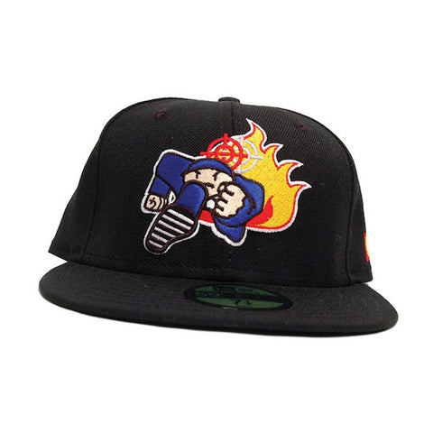 Duck Down Logo New Era Black Fitted Hat