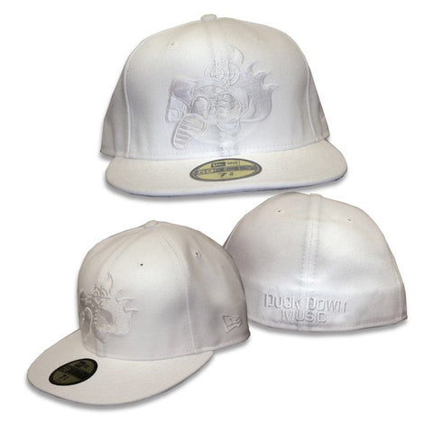 Duck Down Logo New Era White Fitted Hat