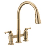 DELTA 2390L-DST Two Handle Pull-Down Bridge Kitchen Faucet