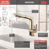 DELTA FAUCET 4193 Single Handle Pull Out Kitchen Faucet Pivotal