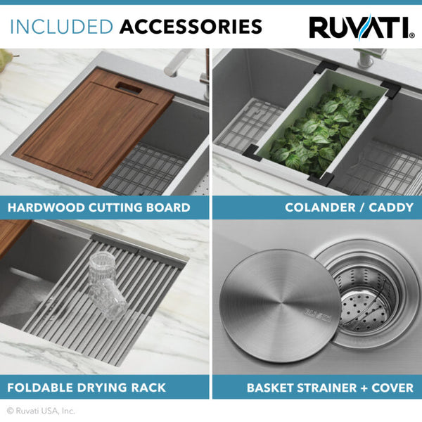RVH9301 36″ Apron-front 50/50 Farmhouse Kitchen Sink Stainless Steel