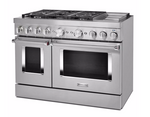 KITCHENAID KFDC558JSS 48 in. 6.3 cu. ft. Smart Double Oven Dual Fuel Range