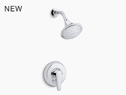 KOHLER K-TS98008-4 July™ Rite-Temp® bath and shower valve trim with lever handle, NPT spout and 2.0 gpm showerhead
