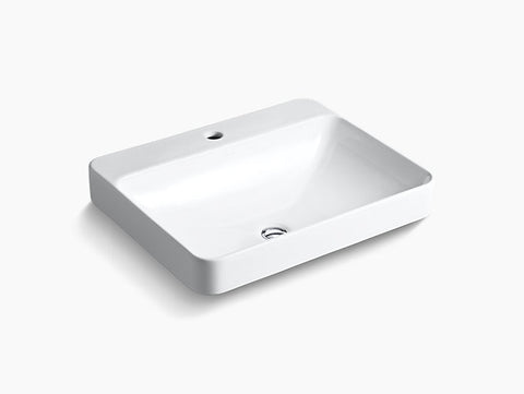 KOHLER K-2660-1-0 Vox® Rectangle vessel bathroom sink with single faucet hole