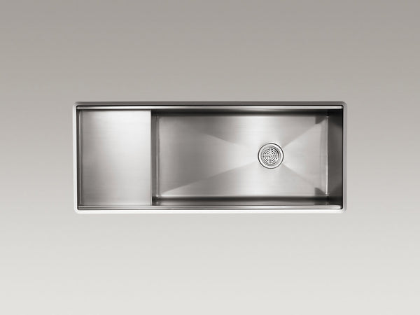"KOHLER Stages™ 45"" x 18-1/2"" x 9-13/16"" under-mount single-bowl with wet surface area kitchen sink"