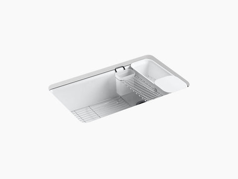 "KOHLER K-5871-5UA3-0 Riverby® 33"" x 22"" x 9-5/8"" under-mount single-bowl kitchen sink with accessories"