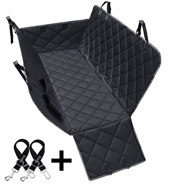 Dog Seat Covers, 600D Waterproof Pet Car Seat Covers with 2 Dog Seat Belts & Zipper & Pocket - Nonslip Back Seat Cover Dog Hammock Convertible Extra Side Flaps Best for Cars Trucks Suvs