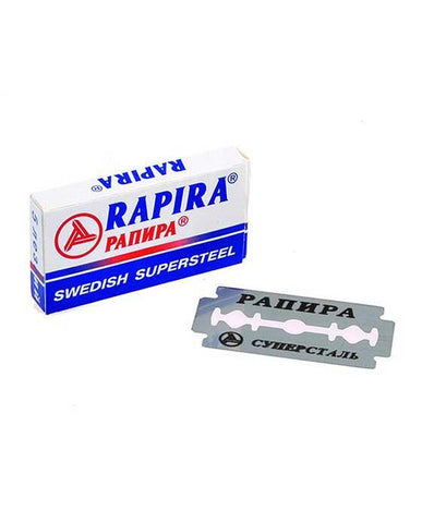 RAPIRA SWEDISH SUPERSTEEL DOUBLE EDGE RAZOR BLADES, 5-PACK - Prohibition Style