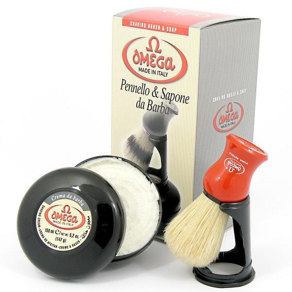 OMEGA SHAVING CREAM AND BRUSH WITH STAND KIT - Prohibition Style