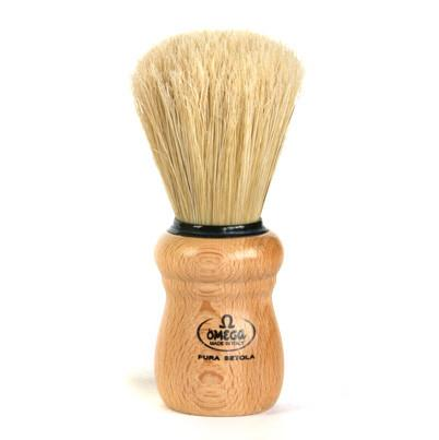 OMEGA BOAR BRISTLE SHAVING BRUSH, BEECH WOOD HANDLE OMG-10005 - Prohibition Style