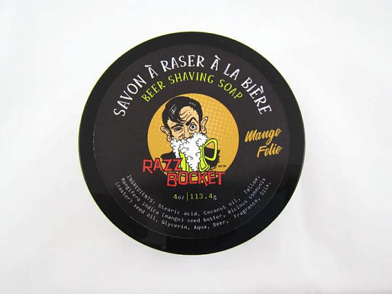 Beer Shaving Soap RazzBocket Limited Edition Mango Folie - By Entre Bulles Et Moi - Prohibition Style
