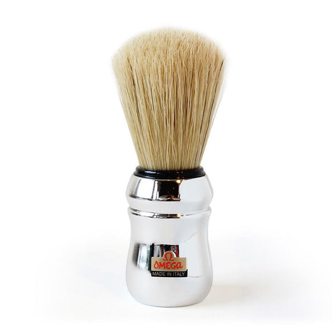 OMEGA 83 PROFESSIONAL BOAR BRISTLE SHAVING BRUSH, FAUX CHROME HANDLE OMG-10083 - Prohibition Style
