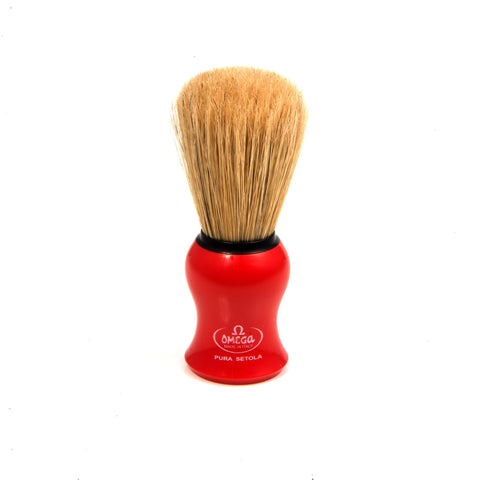 OMEGA BOAR BRISTLE SHAVING BRUSH, RED - Prohibition Style