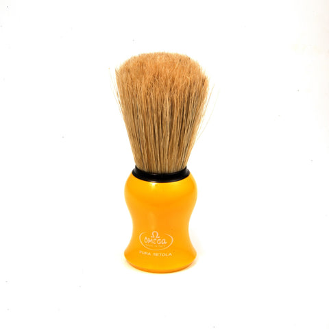 OMEGA BOAR BRISTLE SHAVING BRUSH, YELLOW - Prohibition Style