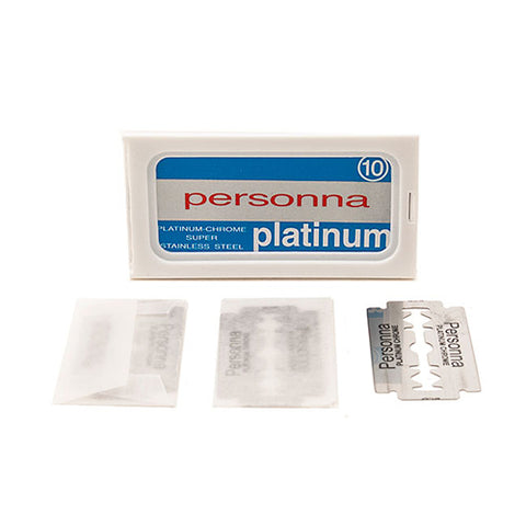 PERSONNA PLATINUM DOUBLE EDGE SAFETY RAZOR BLADES- 10 COUNT - Prohibition Style