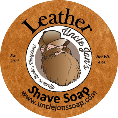 UNCLE JON'S NATURAL SHAVE SOAP - LEATHER - Prohibition Style