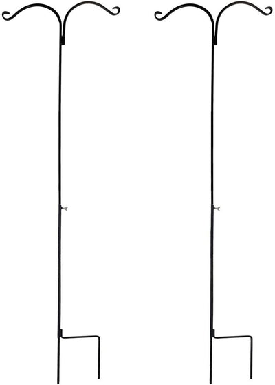 Ashman Shepherds Hook 65 Inch Two Sided Shepherd Hook, 1/2 Inch Thick, Super Strong, Rust Resistant Steel Hook Ideal for Use for Hanging Plant Baskets, Bird Feeders, and Weddings, 2 Pack