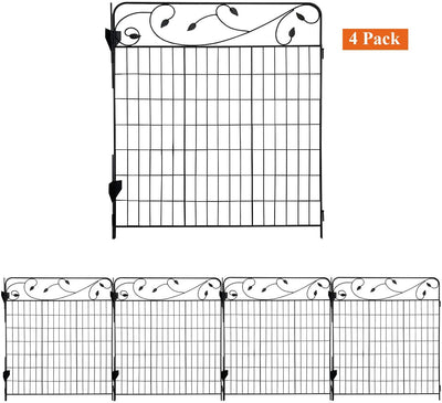 Ashman online Garden Fence 44in x 3ft - Outdoor Rustproof Metal Landscape Fencing Wrought Iron Wire Gate Border Edge Folding (Set of 4)