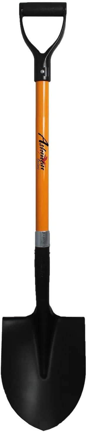 Ashman Round Shovel - The Round Shovel has a D Handle Grip with 41 Inches Long shaft – Heavy duty Blade weighing 2.2 pounds with a shaft made of Fiber Glass – Orange Shovel with a Solid Build and Tough Construction