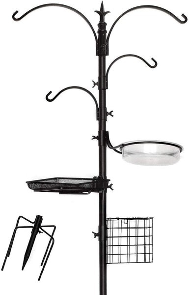 "Ashman Deluxe Premium Bird Feeding Station, 22"" Wide x 91"" Tall with 5 Prong Base, Top Hook, Two Small Arms and Water Dish, Suet Cage Feeder."
