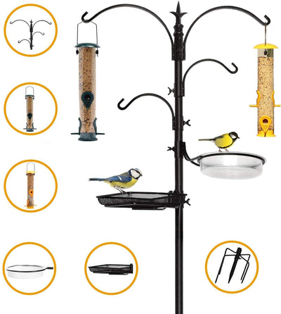 Premium Bird Feeding Station with 2 Bird Feeders Included for Outside - Multi Feeder Pole Stand Kit with 4 Hangers, Bird Bath and 5 Prong Base for Attracting Wild Birds - 22 Inch Wide x 92 Inch Tall.
