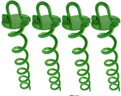 Ashman Spiral Ground Anchor, 16 Inches, with Folding Ring for Securing Tents, Canopies, Sheds, Car ports, Swingsets; Powder-Coated Solid Steel Auger, Set of 4.