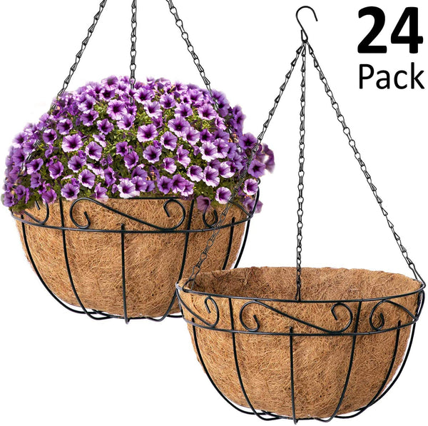 Ashman Metal Hanging Planter Basket with Coco Coir Liner Round Wire Plant Holder Chain Porch Decor Flower Pots Hanger Garden Decoration Indoor Outdoor Watering Hanging Baskets, 24 Pack