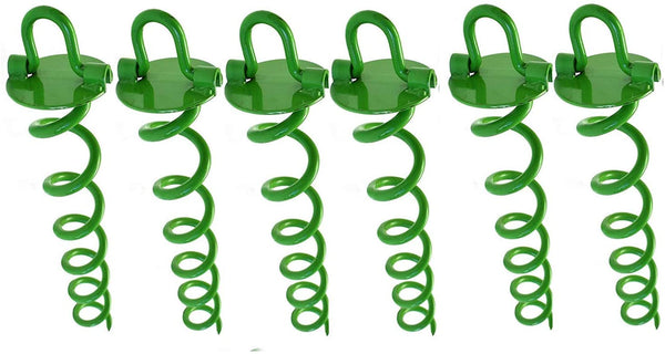 Ashman Spiral Ground Anchor, 16 Inches, with Folding Ring for Securing Tents, Canopies, Sheds, Swing sets, Powder-Coated Solid Steel Auger, Set of 6