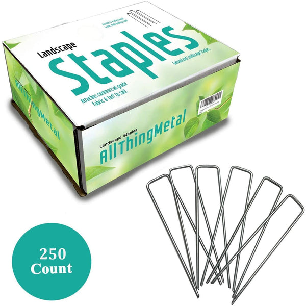 AllThingMetal Galvanized Garden Stakes Landscape Staples: 6 Inch Long Sod Staples and Fence Stakes - Rust Resistant (250 Count - Extra Heavy Duty)
