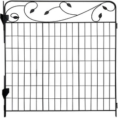 Ashman Garden Fence 44in x 3ft - Outdoor Rustproof Metal Landscape Fencing Wrought Iron Wire Gate Border Edge Folding Patio Flower Bed Animal Barrier Section Edging Black (Set of 4)