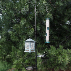 Deluxe Bird Feeding Station (2 Pack) Bird Feeders for Outside - Multi Feeder Pole Stand Kit with 4 Hangers, Bird Bath and 3 Prong Base for Attracting Wild Birds - 22 Inch Wide x 92 Inch Tall