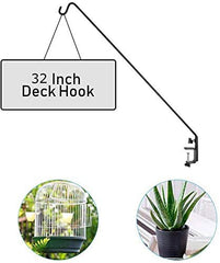 Ashman Deck Hook, Double Forged Solid Metal Single Piece Rod, Ideal for Bird Feeders, Plant Hangers, Coconut Shell Hanging Baskets, Lanterns, Wind Chimes and Suet Basket (1, Regular Hook)