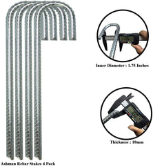 Ashman Rebar Stake Anchor 12 Inches Long, Ideal for Securing Animals, Tents, Canopies, Sheds, Car Ports, Swing Sets (Re-bar Stake 4 Pack)