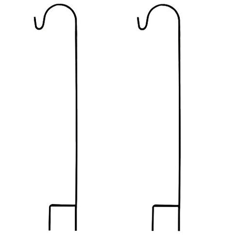 Ashman Black Shepherd Hook 48 Inch (2 pack), 10MM Thick, Super Strong, Rust Resistant Steel Hook Ideal For Use at Weddings, Hanging Plant Baskets, Solar Lights, Lanterns, Bird Feeders, Chimes & More