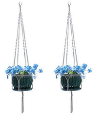 Ashman White Plant Hanger - 2 Pack - Macrame with Silver Ring, Beautifully Handmade Large 4 Leg Arms Used for Round & Square Pots Hanging Basket.