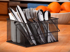 Ashman Silverware Caddy - Flatware, Cutlery, and Utensil Organizer with Napkin Holder & Condiments for Kitchen, Dining, Outdoors, Picnics and Parties - (Black Steel Mesh)