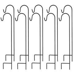 Ashman Black Shepherd Hook 48 Inches Tall 1/3 Inch in diameter, Pack of 10 Hooks