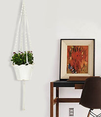 Plant Hanger Macrame White 48 Inches Long With Silver Ring, Beautifully Handmade.