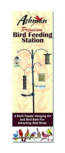 Ashman Premium Bird Feeding Station – Strong Outdoor Bird Feeding Station Kit – Install Multiple Feeders – 4 hangers along with Bird Bath Tray, Mesh Tray – 5 Pronged Base Support – Rust Resistant Heavy Duty – 22 Inches Wide x 92 Inches Tall