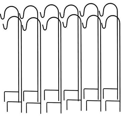 Ashman Shepherd's Hooks, Black, Set of 12 made of Premium Metal for Hanging Bird Feeders