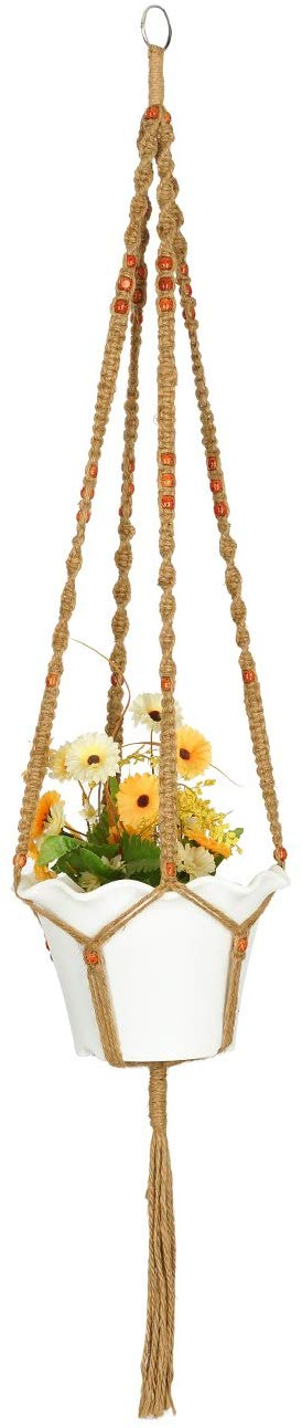 AshmanOnline Plant Hanger Macrame Jute 4 Legs 48 Inch with Beads