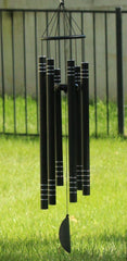 Ashman 42 inch Black Wind Sympathy Chimes with 5 Copper Vein Tubes - Tuned Relaxing Melody Gift Décor for Patio, Garden, Home, Balcony.