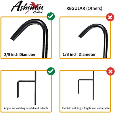 Ashman 37 Inch 10 MM Shepherd's Hooks, Black, Set of 12 Made of Premium Metal for Hanging Bird Feeders, Flower Basket, Christmas Lights.