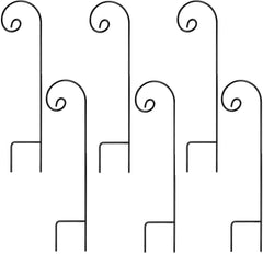 Ashman Shepherd's Hooks, Black, Made of Premium Metal for Hanging Solar Lights, Bird Feeders, Mason Jars, Plant Hangers, Flower Basket, Christmas Lights, Lanterns, Garden Stakes and Weddings (6 Pack)