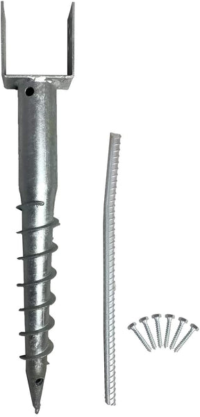 "Ashman Ground Screw No Dig, U-Model Screw in Post Stake - 27"" Inch Long, Fits Standard 4x4 (3.5"" X 3.5"" Inch) Great for Mailbox Posts"