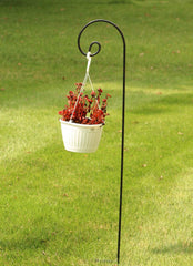 Ashman Black Shepherd Curled Hook 92 Inch, 15MM Thick, Super Strong, Rust Resistant Steel Hook Ideal for Hanging Heavy Plant Baskets, Bird Feeders, Solar Lights, Lanterns, Flower Pots (Pack of 1)