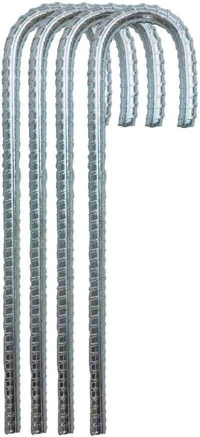 Ashman 12 Inch Galvanized Stakes 4Pack, Landscaping Staples, Ground Anchor, Heavy Duty Steel